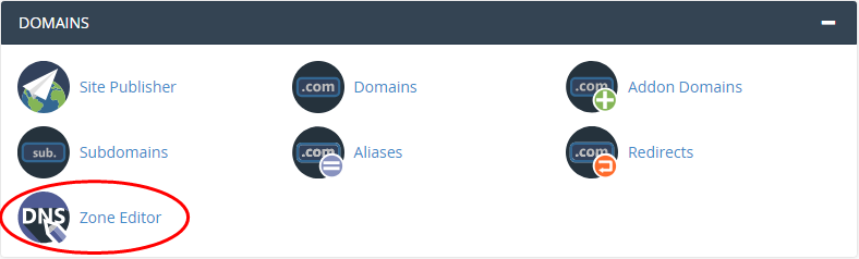 cPanel - Domains - Zone Editor