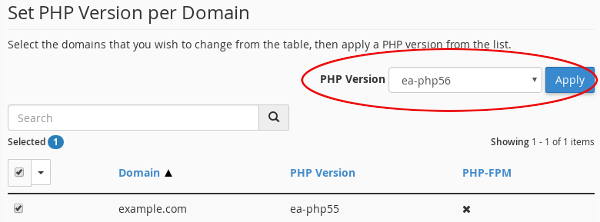 cPanel - MultiPHP Manager - Select version